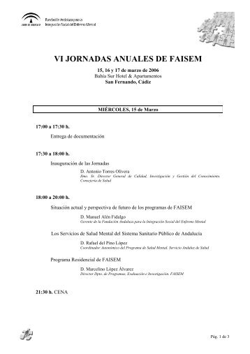 VI JORNADAS ANUALES DE FAISEM - Fundación Andaluza para la ...
