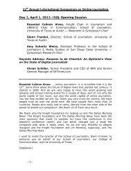 Day 1, April 1, 2011: ISOJ Opening Session - International ...