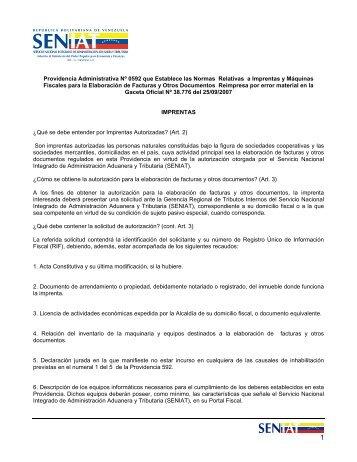 Providencia Administrativa Nº 0592 que Establece las Normas ...