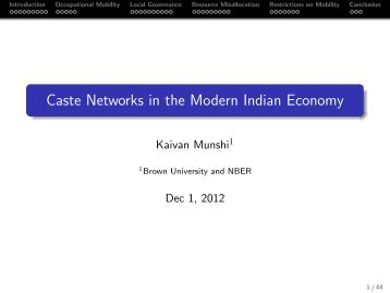 Caste Networks in the Modern Indian Economy