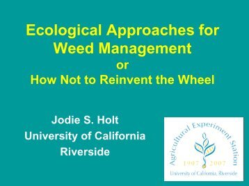 Ecological approaches to weed management. - Cal-IPC