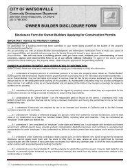 Owner Builder Declaration - Watsonville California