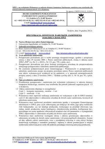 specyfikacja istotnych warunków zamówienia - Przetargi na UJ