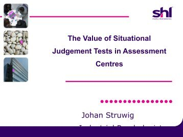 Arguments for and Against Using SJTs as Part of, or ... - ACSG
