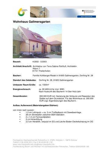 Wohnhaus Gallmersgarten - Bauen und Wohnen - FNR