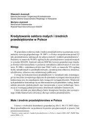 Kredytowanie sektora małych i średnich przedsiębiorstw w Polsce