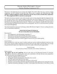 Ramapo-Indian Hills English 1 Honors Summer Reading ...