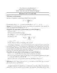Polynômes sur F p et corps finis