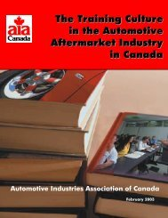 The Training Culture in the Automotive Aftermarket Industry in Canada