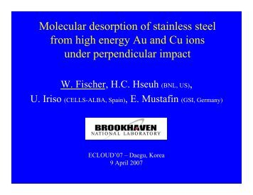 Molecular desorption of stainless steel from high energy Au and Cu ...
