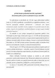 Raportul Preşedintelui Consiliului Judeţean Gorj privind situaţia ...