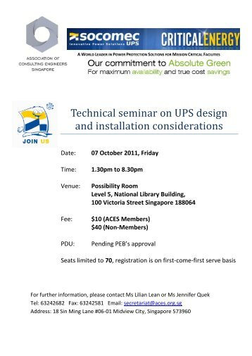 Technical seminar on UPS design and installation considerations