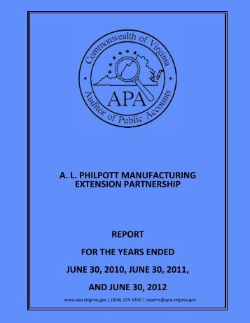 A.L. Philpott Manufacturing Extension Partnership report on Audit for ...