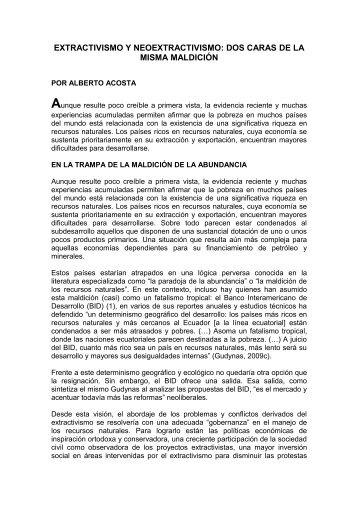 EXTRACTIVISMO Y NEOEXTRACTIVISMO: DOS CARAS DE LA ...