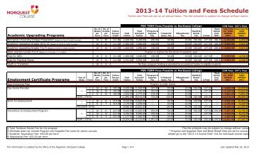 2013-14 Tuition and Fees Schedule - NorQuest College