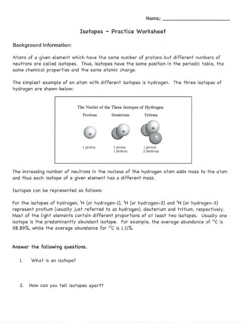 Isotopes Practice Worksheet