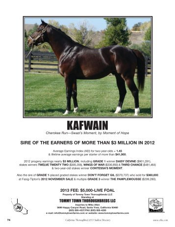 KAFWAIN - California Thoroughbred Breeders Association