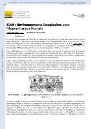 EIAH: Environnements Imaginaires pour l Apprentissage Humain