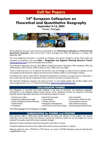 Call for Papers 14th European Colloquium on Theoretical and ...