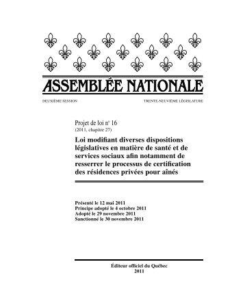 Loi modifiant diverses dispositions législatives en matière de santé ...