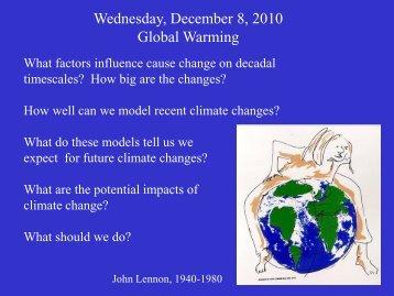 Wednesday, December 8, 2010 Global Warming