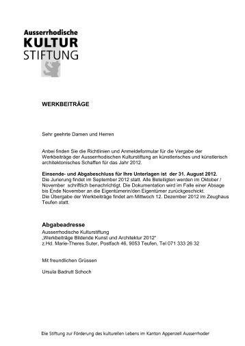 Ort, Datum - Ausserrhodische Kulturstiftung