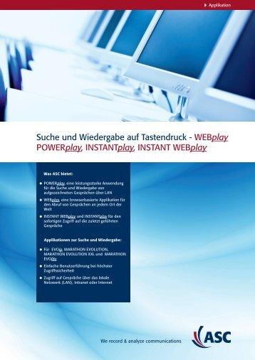 Suche und Wiedergabe auf Tastendruck - WEBplay ... - ASC telecom