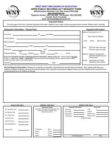 Open Public Records Act (OPRA) Request Form - West New York ...