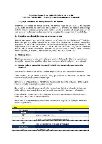 Pogodbeni pogoji za nakup izdelkov na obroke v okviru ... - Telemach