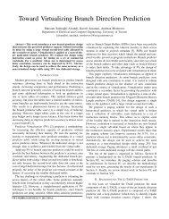 Toward Virtualizing Branch Direction Prediction - University of Toronto