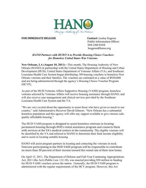 HANO Partners with HUD/VA to Provide Housing Choice Vouchers