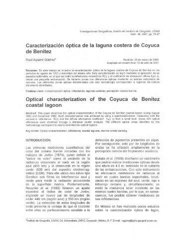 Caracterización óptica de la laguna costera de Coyuca de Benítez ...