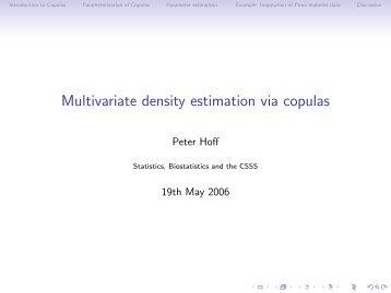 Multivariate density estimation via copulas - Statistics