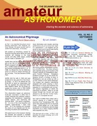 Sample Newsletter - The Delaware Valley Amateur Astronomers