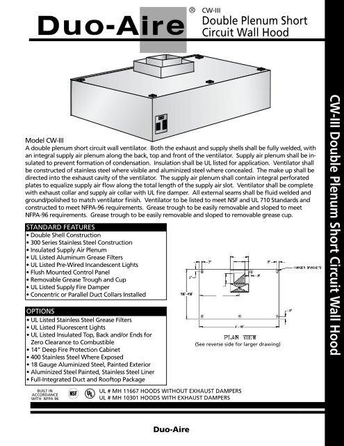 CW-III Double Plenum Short Circuit Wall Hood - Duo-Aire