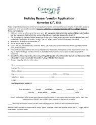 Holiday Bazaar Vendor Application - Canterbury on the Lake