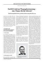 EuGH-Urteil zur Wegzugsbesteuerung – eine Chance für ... - Schweiz