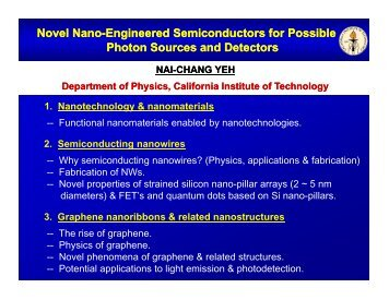 Novel Nano Novel Nano-Engineered Semiconductors for ... - Caltech