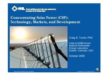 Concentrating Solar Power (CSP): Technology, Markets, and ...
