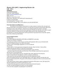 Physics 181L (007) - Engineering Physics Lab Fall - 2011 Syllabus