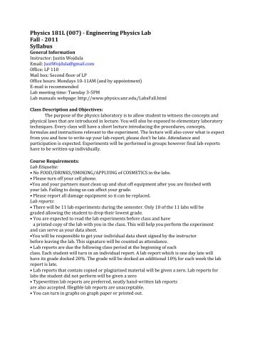Physics 181L (007) - Engineering Physics Lab Fall - 2011 Syllabus