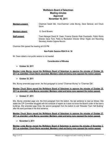 Wolfeboro Board of Selectmen Meeting minutes Approved ...