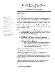 John W. & Edna Wilson Mosley Scholarship Fund - The Denver ...