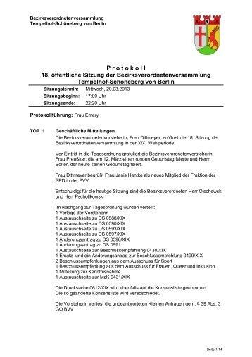 Protokoll der 18. Sitzung, März 2013 (pdf/ca. 150 ... - Ein Bezirk für Alle