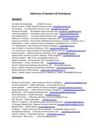 Email Addresses of Speakers and Participants - Indian Institute of ...