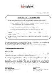 Résultats du 1er semestre 2013 de Groupe GO Sport