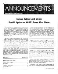Eastern Indian Land Claims Part II - Native American Rights Fund