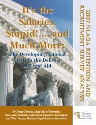 It's the Salaries, Stupid! - National Legal Aid & Defender Association