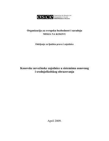Kosovske nevećinske zajednice u sistemima osnovnog i ... - OSCE
