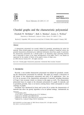 Chordal graphs and the characteristic polynomial - Sites at Lafayette ...